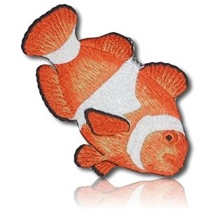 "[1 Count Single] Custom and Unique (3"" x 4 1/2"" Inch) ""Wildlife"" Tropical Ocean Coral Reef Dwelling Clown Fish Sea Underwater Waves Surf Nemo Iron On Embroidered Applique Patch {Orange, White & Black}"