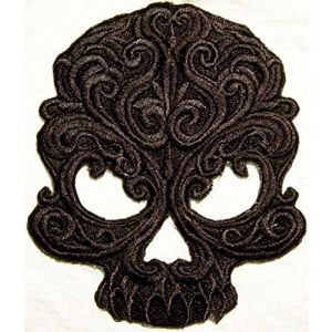 "[Single Count] Custom and Unique (5.5"" x 4.5"" Inch) ""Spooky"" Medium Edgy Halloween Gothic Baroque Skull Iron On Embroidered Applique Patch {Dark Brown Colors}"