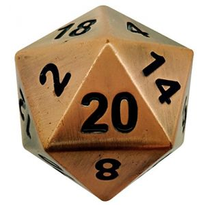 Custom & Unique {Jumbo Massive Huge XXL 45mm} 1 Ct Single Unit Set of 20 Sided [D20] Icosigon Shape Playing & Game Dice Made of Copper Metal w/ Simple Classy Chrome Design [Bronze & Black]