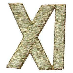 """[Single Count] Custom and Unique (1 5/8"""" Inches) Roman Numerals Number Eleven 11 XI Symbols Iron On Embroidered Applique Patch {Gold Colors}"""