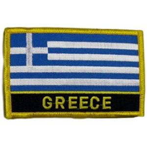 "[Single Count] Custom and Unique (2 1/4"" by 3 1/4"" Inches) Rectangle World Sights Greek Travel Souvenir Greece Flag Iron On Embroidered Applique Patch {Blue, White, Gold & Black Colors}"