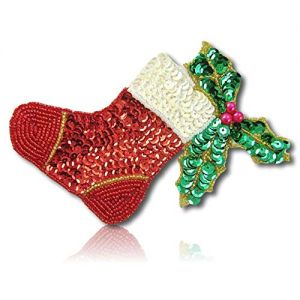 """Beautiful & Custom {5"""" X 4.5"""" Inch} 1 of [Sew-On & Glue On] Embroidered Applique Patch Made of Sequins & Beads w/Traditional Metallic Jolly Time of Year Stockings w/Holly Style {Red, White, Green}"""