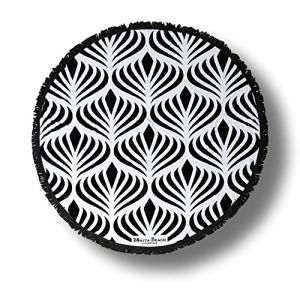 """Custom & Luxurious {60"""" x 60"""" Inch} 1 Single Large & Thin Soft Summer Beach & Bath Towel Made of Quick-Dry Cotton w/ Unique Exotic Roundie Finge Tasseled Congo Peacock Style [Black & White]"""