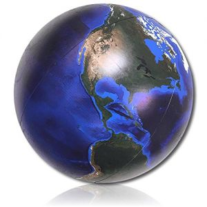 """ULTRA Durable & Custom {36"""" Inch} One Single Mid-Size Inflatable Beach Ball for Summer Fun, Made of Lightweight FLEX-Resin Plastic w/ Space Solar System Universe Planet Earth Map Style {Multicolor}"""