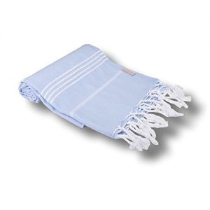 """Custom & Luxurious {39"""" x 70"""" Inch} 6 Bulk Pack of Large & Thin Soft Summer Beach & Bath Towels Made of Quick-Dry Cotton w/ Classic Sky Pastel Peshtemal Turkish Lounging Vacation Souvenir Style [Blue]"""