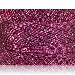 """Fabulous Crafts {2070 Total Yards / 200g} 10 Cakes Pack of Durable"""" Size 0 Lace Weight Fingering"""" Yarn for Knitting, Crochet & More, Made of 70% Polyester & 30% Lurex w/Icicles St {Silver & Orchid}"""