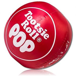 """ULTRA Durable & Custom {36"""" Inch} 1 Single Large-Size Inflatable Beach Ball for Summer Fun, Made of Lightweight FLEX-Resin Plastic w/ Candy Sweet Flavor Tootsie Roll Pop Sucker Lollipop {Red & White}"""
