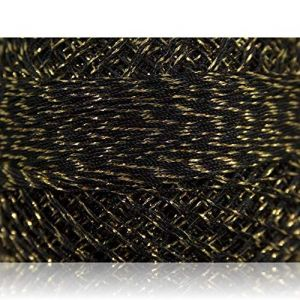 """Fabulous Crafts {2070 Total Yards / 200g} 10 Cakes Pack of Durable"""" Size 0 Lace Weight Fingering"""" Yarn for Knitting, Crochet & More, Made of 70% Polyester & 30% Lurex w/Quill Style {Silver & Gold}"""