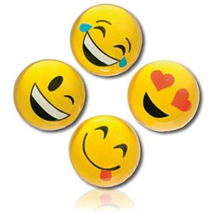 Custom & Unique {27mm} 250 Bulk Pack, Mid-Size Super High Bouncy Balls, Made of Grade A+ Rebound Rubber w/ Smiling Grinning Beaming Emoji Heart Eye Laughing Crying Winking (Yellow, Black, White & Red)