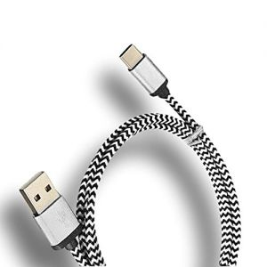 mySimple [3' Feet - Single Pack] of USB Type-C 2.0 Data Sync Charger w/ Tangle Free Braided Woven Rope Outer Jacket Made of Nylon Fabric w/ Stylish Design for Phones, Laptops & Tablets {Silver&Black)