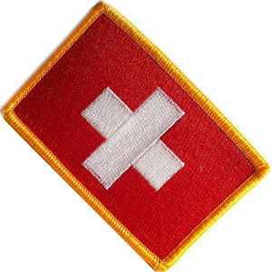 "[Single Count] Custom, Cool & Awesome {2.15"" x 3.4"" Inches} Small Rectangle Traditional Switzerland National Flag Patriotic Tactical Badge Design (Military Type) Velcro Patch ""Red, White & Gold"""