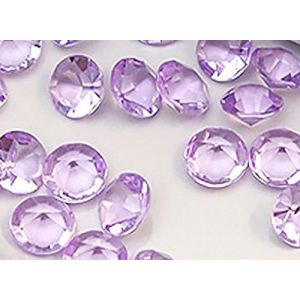 Custom & Fancy {8mm} Approx 5,000 Small Round Circles of Table Decorating & Vase Filler Wedding Party Confetti Made of Faux Acrylic w/ Crystal Clear Diamond Gem Jewel Design [Translucent Lavender]