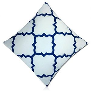 """Handmade {21"""" Inch} 1 Single Mid-Size, Hidden Zipper Removable """"Throw"""" Pillowcase Protector Cover Made of 200TC Smooth Velvet w/Two Sided Navy Symmetrical Bird's Eye Geometric Design {Blue & White}"""