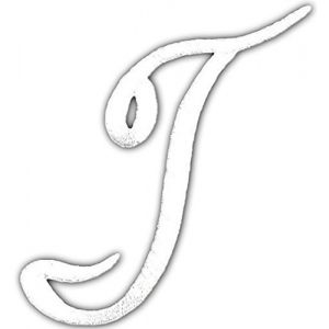 "[Single Count] Custom and Unique (2"" Inches) ""Alphabet"" Letter T American Cool Script Thin Cursive Uppercase Classic Swirled Capitalized Iron On Embroidered Applique Patch {White Color}"