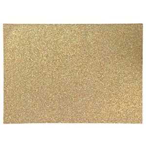"""Unique & Custom {13"""" x 19"""" Inch} Set Pack of 6 Rectangle """"Non-Slip Grip Texture"""" Large Table Placemats Made of Flexible Vinyl w/ Fun Sparkly Vibrant Metallic Simple Shimmering Design [Gold Color]"""