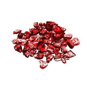 """Custom & Fancy {Assorted Sizes 0.3"""" - 0.4"""" Inch} Approx 256 oz of Small """"Table"""" Party Confetti Made of Genuine Glass w/ Sparkling Ruby Color Crystal Gem Crushed Shard Filler Scatter Design [Red]"""