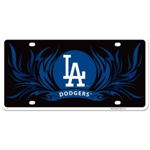Los Angeles Dodgers Flame License Styrene MLB Plate Car Sign Tag Officially Licensed MLB Merchandise