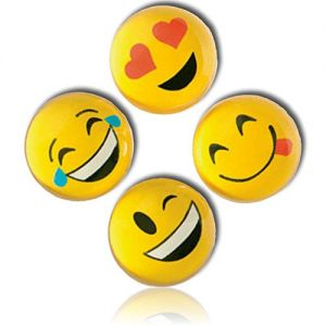 Custom & Unique {27mm} 2000 Bulk Pack, Mid-Size Super High Bouncy Balls, Made of Grade A+ Rebound Rubber w/ Smiling Grinning Beaming Heart Eye Laughing Crying Winking Orbs (Yellow, Black, White & Red)