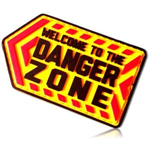 """Welcome to The Danger Zone Outlined Left Pointing Sign Warning Arrows Chevron All Caps Capitol Block Letters Alphabet Font Hook & Loop Fastener Patch [3"""" x 1.75""""]"""