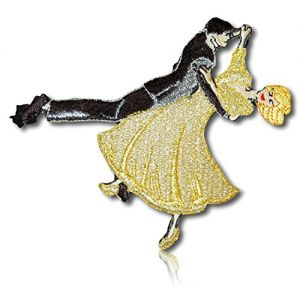 """[1 Count Single] Custom and Unique (3 1/4"""" x 3 1/2"""" Inch) """"Hobby"""" Dancing Couples Dance Ball Room Dancers Rhumba Cha-Cha Salsa Samba Foxtrot Charleston Iron On Embroidered Applique Patch {Multicolor}"""