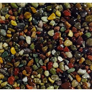 "Safe & Non-Toxic {Small Size, 0.3"" Inch} 10 Pound Bag of Gravel & Pebbles Decor for Freshwater & Saltwater Aquarium w/Dark Earthy Tones Forest River Style [Brown, Tan, Green, Red & Yellow]"