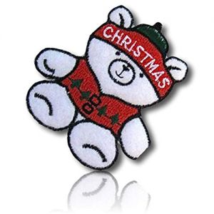 """Beautiful & Custom {2.5"""" x 3"""" Inch} 1 of [Iron-On] Embroidered Applique Patch Made of Cotton w/Christmas Light Teddy Bear Dressed in Holiday Fluffy Hat & X-Mas Line Tree On Shirt Design {Multicolor}"""