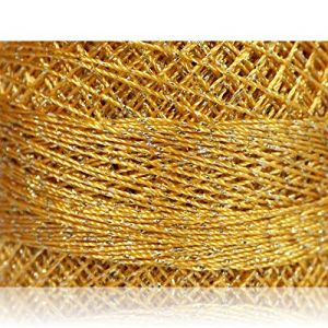 """Fabulous Crafts {2070 Total Yards / 200g} 10 Cakes Pack of Durable"""" Size 0 Lace Weight Fingering"""" Yarn for Knitting, Crochet & More, Made of 70% Polyester & 30% Lurex w/Shiny Sty {Silver & Gold}"""