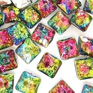 """Fancy & Decorative {12mm w/ 2 Holes} 20 Pack of Small Size Square """"Flat"""" Sewing & Craft Buttons Made of Acrylic Resin w/ Tie Dye Rainbow Reflective Rhinestone Jewel Design {Pink, Blue & Yellow Colors}"""