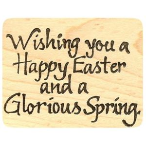 "{Single Count} Unique & Custom (2 3/4"" by 2 1/4"" Inches) ""Wishing You A Happy Easter & A Glorious Spring Text"" Rectangle Shaped Genuine Wood Mounted Rubber Inking Stamp"