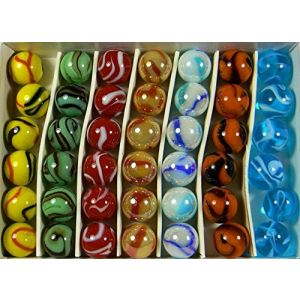 "Unique & Custom {5/8"" Inch} Set of Approx 42 ""Round"" Opaque & Clear Marbles Made of Glass for Filling Vases, Games & Decor w/ Swirled Contemporary Design [Assorted Colors] w/ Collectors Box"