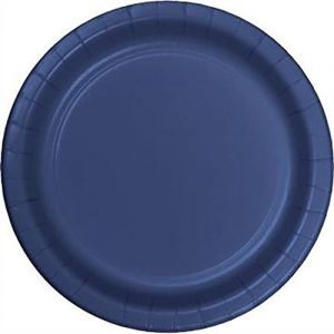 "Custom & Unique {7"" Inch} 24 Count Multi-Pack Set of Medium Size Round Disposable Paper Plates w/ Single Colored Basic Wedding Celebration Party ""Dark Navy Blue Colored"""