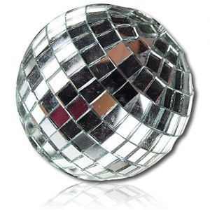 "Custom & Decorative {2.75"" Inch} 6 Pack Of, Mid-Size Hanging Ornament Made of Grade A+ Foam & Resin w/ Shiny Glimmering 70's Dance Floor Mirrored Square Tiles Disco Ball Sphere Style {Chrome Silver}"