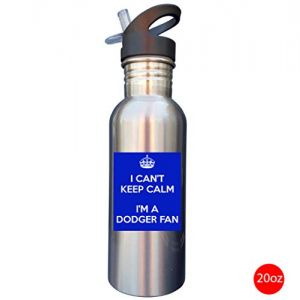 Keep Calm I'm a Dodger Fan World Series 2018 20oz SILVER Stainless Steel Sport Water Bottle With Straw Cap