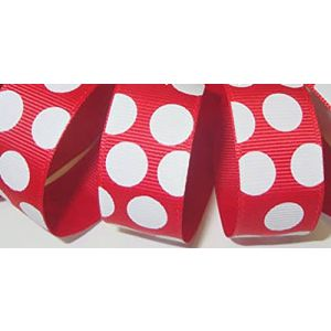 """Custom & Fancy {0.9"""" Inch Width - 1 YDS} 1 Pack of """"Grosgrain"""" Ribbon for Hairbows, Decorations & Gift Wrap Made of Polyester w/ Classic 1950s Inspired Bold Polka Dotted Style [White & Red]"""