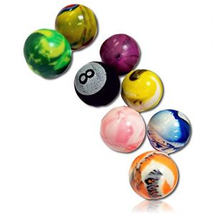 """Custom & Unique {27mm} 1000 Bulk Pack, Mid-Size Super High Bouncy Balls, Made of Grade A+ Rebound Rubber w/ Cosmic Sparkly Solid Checkered Dapple """"Eight Ball"""" Striped Zigzag Clouded Plaid (Multicolor)"""