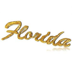 """Unique & Custom {2.5"""" x 1"""" Inch} 1 of [Glue-On, Iron-On & Sew-On] Embroidered Applique Patch Made of Natural Cotton w/Shiny Metallic Shimmering Florida State Spell Out Words {Gold } + Certificate"""