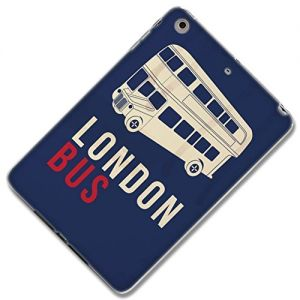 """{London Flag Colors City Bus} Soft and Smooth Silicone Case for iPad Mini 1, 2 and 3 by Apple """"Durable and Slim Flexible Fashion Cover with Amazing and Creative Cartoon Design - All Ports Accessible"""""""