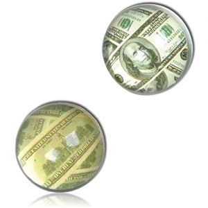 Custom & Unique {27mm} 144 Bulk Pack, Mid-Size Super High Bouncy Balls, Made of Grade A+ Rebound Rubber w/ Recess Time Vibrant Earthy USA Currency 100 Dollar Bills Benjamin Cheddar Style (Multicolor)