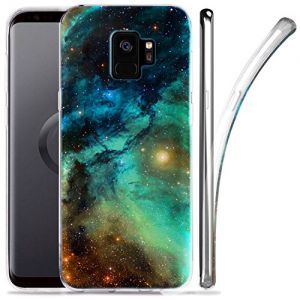 Galaxy S9 Case, ZUSLAB Nebula Pattern Design, Slim Flexible Shockproof TPU, Soft Rubber Silicone Glossy Skin Cover for Samsung Galaxy S9, 2018 (Dark Green Nebula)