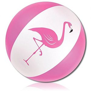 """ULTRA Durable & Custom {27"""" Inch} 1 Single Large-Size Inflatable Beach Ball for Summer Fun, Made of Lightweight FLEX-Resin Plastic w/ Flamingo Bird Animal Standing On One Leg {Pink, White & Black}"""