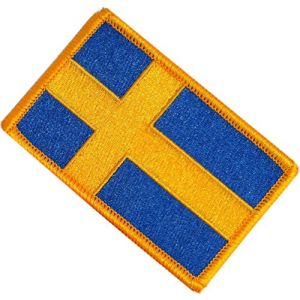 "[Single Count] Custom, Cool & Awesome {2.15"" x 3.4"" Inches} Small Rectangle Swedish Kingdom of Sweden Flag Scandinavian Cross Stripe Tactical Emblem Design (Military Type) Velcro Patch ""Gold & Blue"""