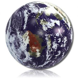 """ULTRA Durable & Custom {36"""" Inch} One Single Large-Size Inflatable Beach Ball for Summer Fun, Made of Lightweight FLEX-Resin Plastic w/ Space Solar System Universe Planet Earth Map Style {Multicolor}"""