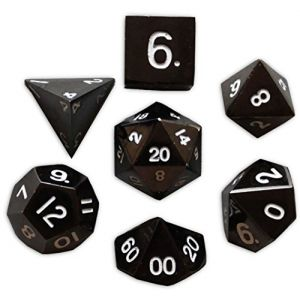 Custom & Unique {Standard Medium} 7 Ct Pack Set of [D4, D6, D8, D10, D12, D20] Assorted Polyhedral Shapes Playing & Game Dice Made of Metal w/ Simple Classy Design [Black & White]