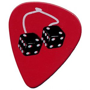 "Unique and Custom (.71 MM Thick) Medium Gauge Hard Plastic, Traditional Style ""Semi Tip"" Guitar Pick w/ Lucky Dice On String Rear View Mirror Design {Red, Black, & White - One Single Pick}"