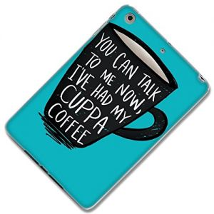Blue + Black {'We Can Talk After I've Had Coffee'} Soft and Smooth Silicone Case for iPad Mini 1, 2 and 3 Durable and Slim Flexible Fashion Cover with Amazing and Creative Cartoon Design