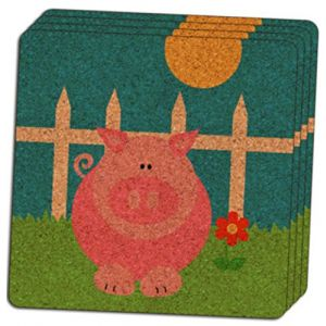 "Custom & Cool {4"" Inches} Set Pack of 4 Square ""Grip Texture"" Drink Cup Coaster Made of Cork w/ Cork Bottom & Classic Farm Animals Pig Piggy Design [Colorful Green, Blue, Yellow & Pink]"