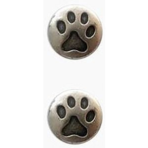 "Fancy & Decorative {19mm w/1 Back Hole} 2 Pack of Medium Size Round ""Popper Shank"" Sewing & Craft Buttons Made of Genuine Metal w/Fun Metallic Animal Cat's Paw Print Design {Silver & Black Colors}"