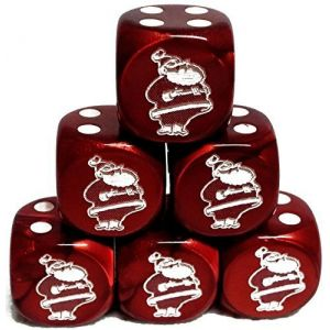 Custom & Unique {Standard Medium 16mm} 6 Ct Pack Set of 6 Sided [D6] Square Cube Shape Playing & Game Dice w/ Rounded Corner Edges w/ Christmas Jolly Santa Outline Design [Red & White]