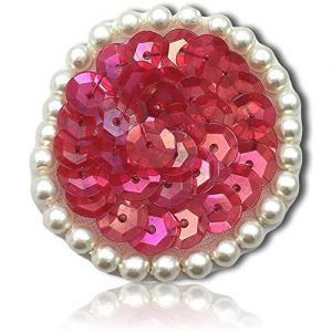 """Beautiful & Custom {1.5"""" Inch} 1 of [Sew-On & Glue-On] Embroidered Applique Patch Made of Sequins & Beads w/Cute Button Like Circular Dot w/Splendid & Luminous Pearly Border Style {Iridescent Red}"""
