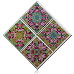 """Custom & Cool {4"""" Inches} Set Pack of 4 Square """"Flat & Smooth Texture"""" Assorted Large Drink Cup Coasters Made of Genuine Natural Stone w/ Cork Back & Abstract Floral Rose Mandala Design [Multicolor]"""